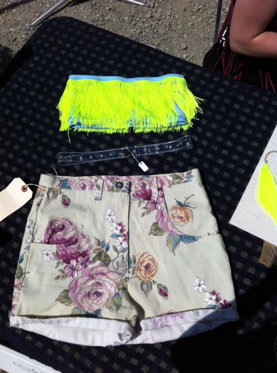Neon fringe bandeau $50and Floral Shorts $60.